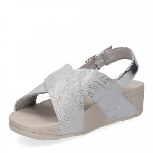 Fitflop Lulu Cross Back Strap Sandal shimmer print silver-4