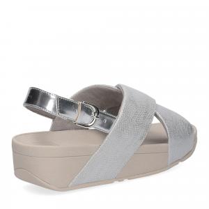 Fitflop Lulu Cross Back Strap Sandal shimmer print silver-5