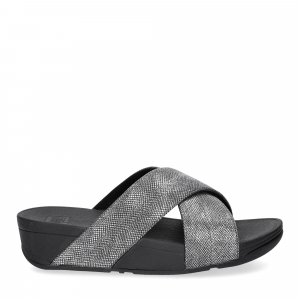 Fitflop Lulu Cross Back Strap Slide shimmer print black-2