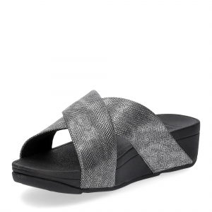 Fitflop Lulu Cross Back Strap Slide shimmer print black-3
