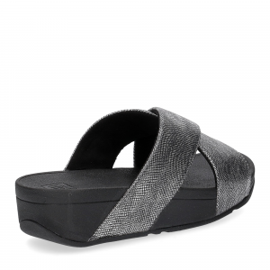 Fitflop Lulu Cross Back Strap Slide shimmer print black-5