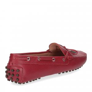 Il Laccio mocassino gommini pelle martellata rossa-4