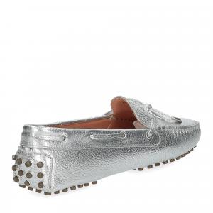 Il Laccio mocassino gommini pelle martellata argento -4