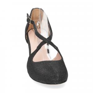 Andrea Schuster sandaliera tessuto lurex nero 7cm-2