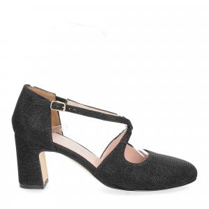 Andrea Schuster sandaliera tessuto lurex nero 7cm-3