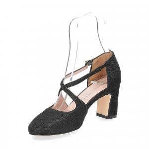 Andrea Schuster sandaliera tessuto lurex nero 7cm-4