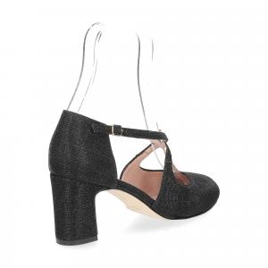 Andrea Schuster sandaliera tessuto lurex nero 7cm-5