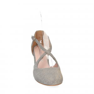 Andrea Schuster sandaliera tessuto lurex argento platino 7cm-1