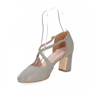Andrea Schuster sandaliera tessuto lurex argento platino 7cm-3