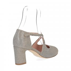 Andrea Schuster sandaliera tessuto lurex argento platino 7cm-4