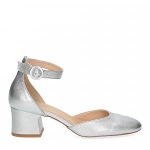 Il laccio sandaliera pelle laminata argento-2