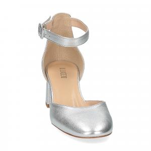 Il laccio sandaliera pelle laminata argento-3