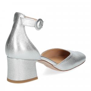 Il laccio sandaliera pelle laminata argento-5