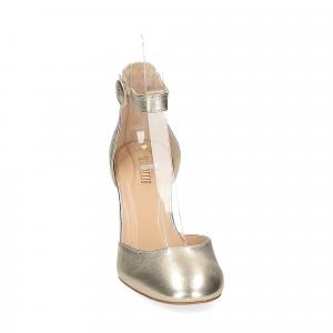 Il laccio sandaliera pelle laminata platino-2