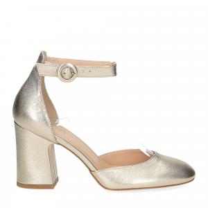 Il laccio sandaliera pelle laminata platino-3