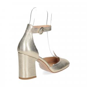 Il laccio sandaliera pelle laminata platino-5
