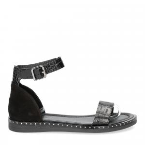 Il laccio sandalo in pelle nera-3