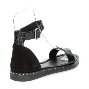 Il laccio sandalo in pelle nera-5
