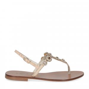 De Capri a Paris sandalo infradito gioiello pelle beige-2