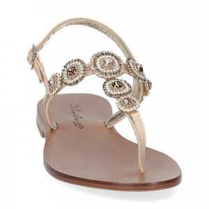 De Capri a Paris sandalo infradito gioiello pelle beige-3
