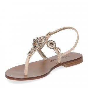 De Capri a Paris sandalo infradito gioiello pelle beige-4
