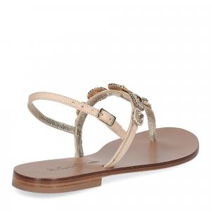 De Capri a Paris sandalo infradito gioiello pelle beige-5