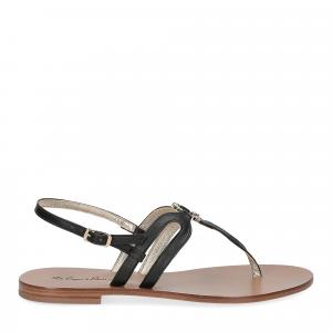 De Capri a Paris sandalo infradito gioiello pelle nera-2