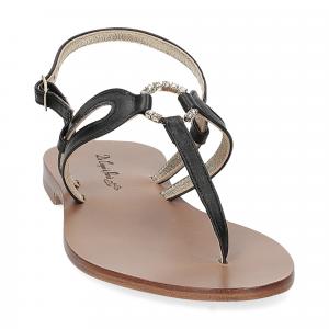 De Capri a Paris sandalo infradito gioiello pelle nera-3