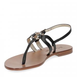 De Capri a Paris sandalo infradito gioiello pelle nera-4