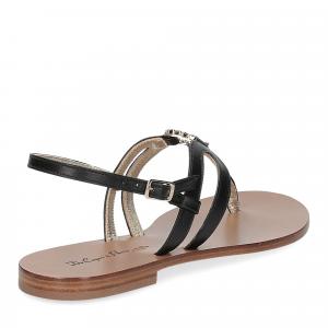 De Capri a Paris sandalo infradito gioiello pelle nera-5