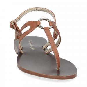 De Capri a Paris sandalo infradito gioiello pelle cuoio-3
