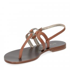 De Capri a Paris sandalo infradito gioiello pelle cuoio-4