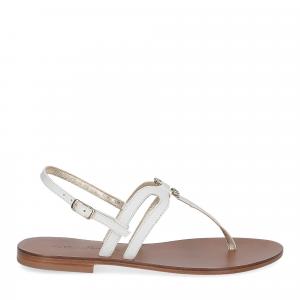 De Capri a Paris sandalo infradito gioiello pelle bianca-2