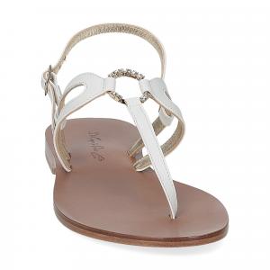 De Capri a Paris sandalo infradito gioiello pelle bianca-3