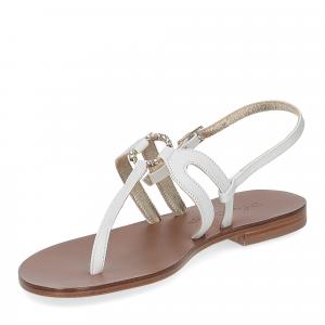 De Capri a Paris sandalo infradito gioiello pelle bianca-4