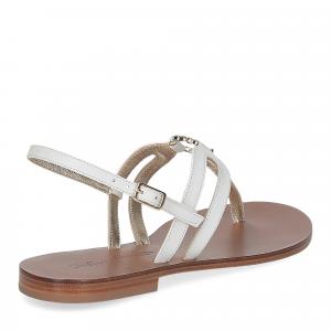De Capri a Paris sandalo infradito gioiello pelle bianca-5