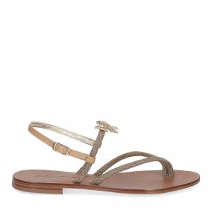 De Capri a Paris sandalo infradito gioiello corda taupe-2