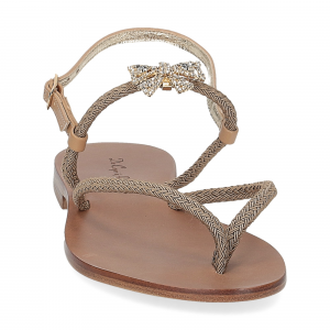 De Capri a Paris sandalo infradito gioiello corda taupe-3