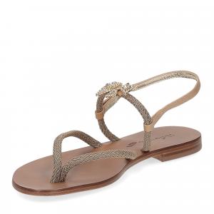 De Capri a Paris sandalo infradito gioiello corda taupe-4