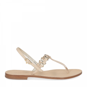 De Capri a Paris sandalo infradito nodino pelle beige-2