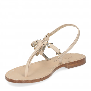 De Capri a Paris sandalo infradito nodino pelle beige-4