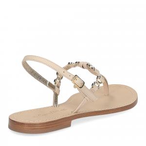 De Capri a Paris sandalo infradito nodino pelle beige-5