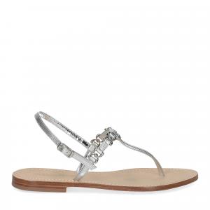 De Capri a Paris sandalo infradito nodino pelle argento-2