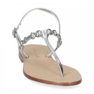 De Capri a Paris sandalo infradito nodino pelle argento-3