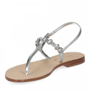 De Capri a Paris sandalo infradito nodino pelle argento-4
