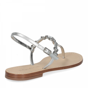 De Capri a Paris sandalo infradito nodino pelle argento-5