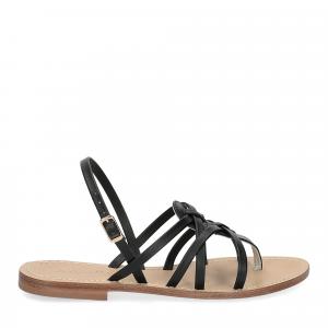 De Capri a Paris sandalo infradito pelle nera-2