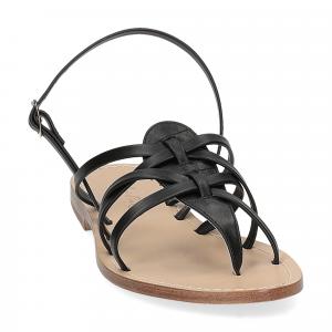 De Capri a Paris sandalo infradito pelle nera-3