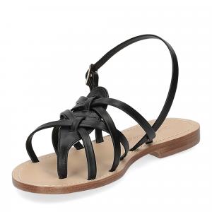 De Capri a Paris sandalo infradito pelle nera-4