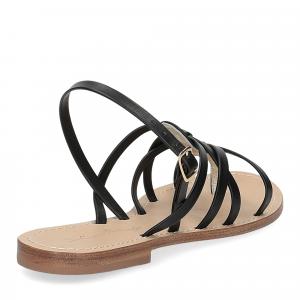 De Capri a Paris sandalo infradito pelle nera-5
